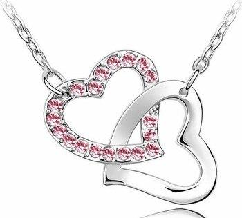 Rhinestone Double Heart pendant necklace 2