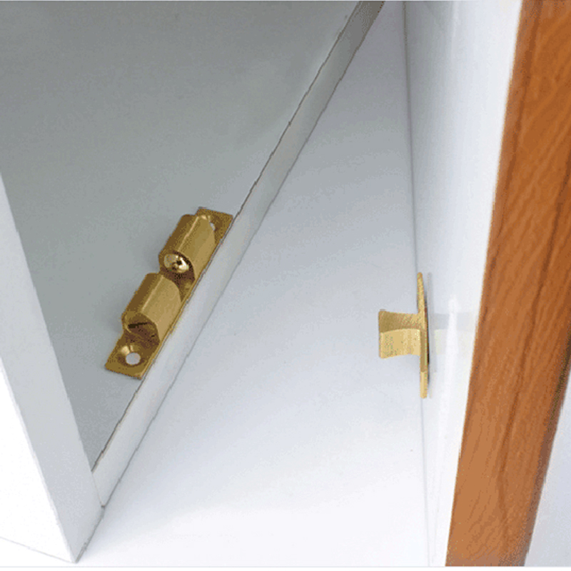 US $8 98 |4Pcs 60mm Brass Double Ball Catch Cabinet Door Latch All Copper  Touch Beads Lock Door Spring Clip Cabinet Door Catches-in Cabinet Catches