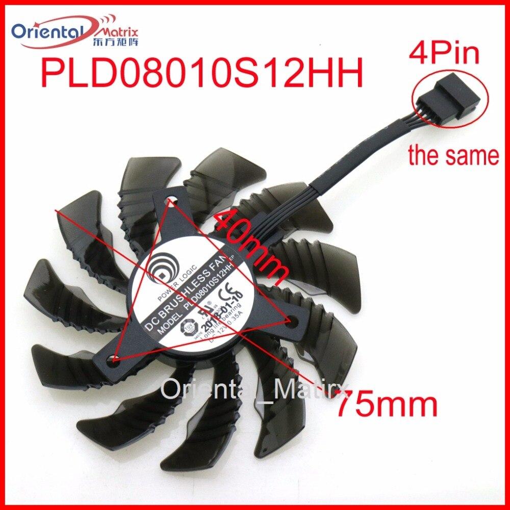 Envío libre PLD08010S12H PLD08010S12HH 12 V 0.35A 75mm para gigabyte tarjeta gráfica ventilador 4Pin