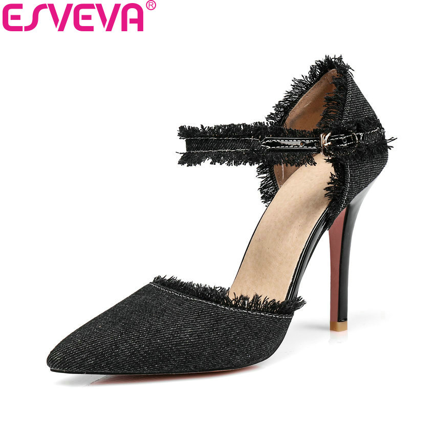 ESVEVA 2018 Women Pumps Shoes Casual Buckle Strap Pointed Toe Thin High Heels Ankle Strap Shallow Pumps Lades Shoes Size 34-43 big size 11 12 fashion pointed toe shallow casual thin heels women s shoes extreme high heels pumps woman for women