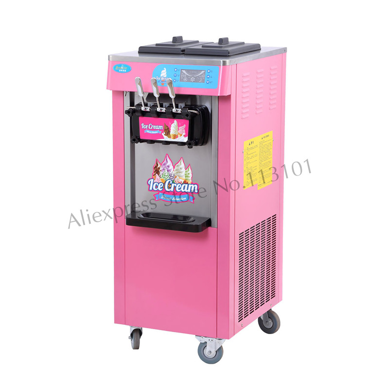 Ice Cream Machine Upright Soft Serve Ice Cream Making Machine Blue and Pink Color 20L/H Three Heads for Snack Bar Restaurant