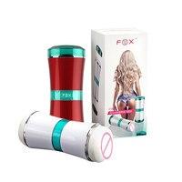 여우 섹스 장난감 포켓 음모 실제 소녀 질 Vajina 항문 자위 컵 더블 채널 방수 성인 섹스 제품