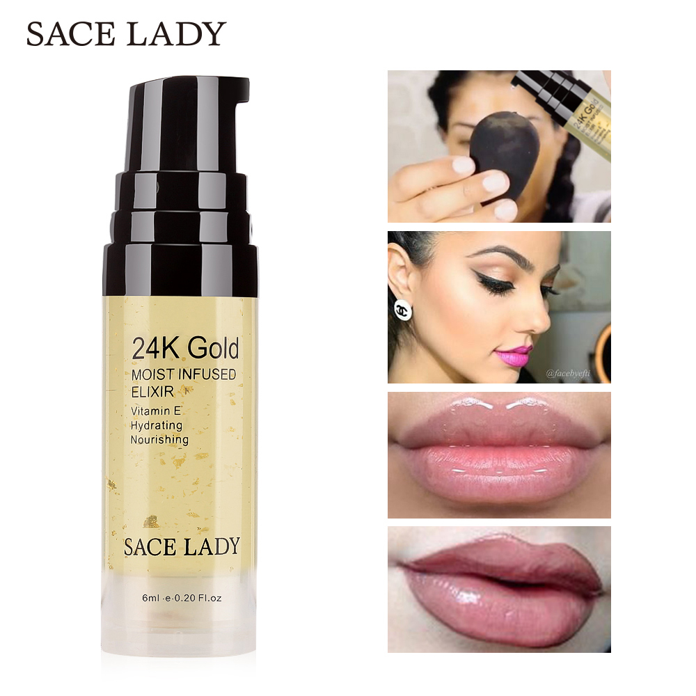 SACE LADY 24K Gold Elixir Oil for Face Makeup Primer 6ml Professional Moisturizing Make Up Base Foundation Primer Pores Cosmetic primer makeup base liquid farsali 24k rose gold infused elixir skin face care essential oil anti aging makeup base 5012