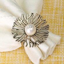50PCS metal napkin ring golden mesh flower wedding hotel buckle table accessories