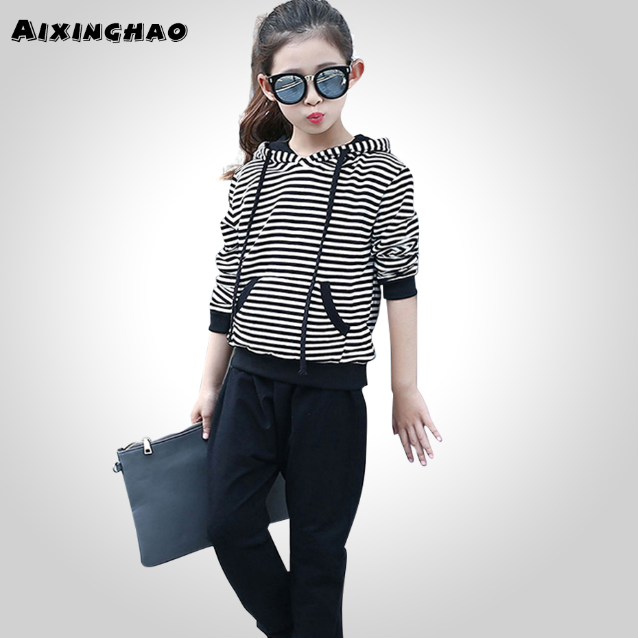 Aixinghao Girls Clothing Teenage Striped Coats + Pants 2PC Girls Sport Suits Spring Children Clothing For Girls 6 8 10 12 Years