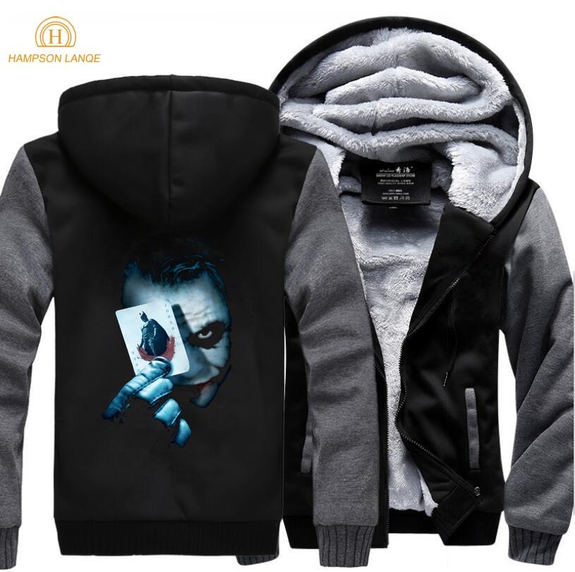 HAMPSON LANQE Batman 2 Joker Heath Ledger Fashion Sweatshirts Mens 2019 Winter Warm Fleece Thicken Hoodies Brand Coat Men