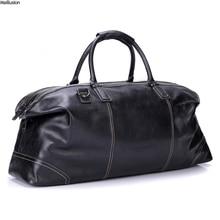 Maillusion из натуральной кожи Для мужчин дорожные сумки Винтаж черный 23 «складной мягкий Crossbody сумки Duffel ночь выходные сумки на плечо