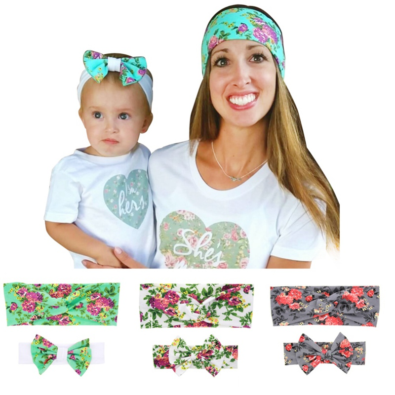 New Baby and Mother Flower Printed Bow Headband Set Parent-child Rabbit Ears Hair with Baby Hairband Headdress Hair Accessories