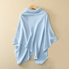 100% real cashmere cloak sweater Women's fashion solid color winter pullover cloaks with half turtleneck