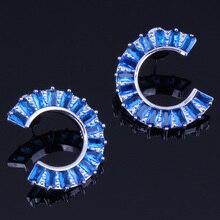 Classy Half Moon Shape Blue Cubic Zirconia 925 Sterling Silver Stud Earrings For Women V0185 pair of elegant color block half moon earrings for women