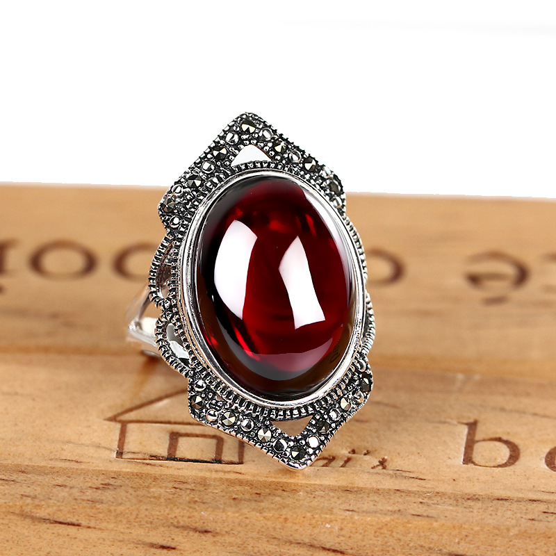 925 Silver Ring Synthetic Cubic Zircon Red Blue Corundum Stone 100 Pure S925 Sterling Solid Silver