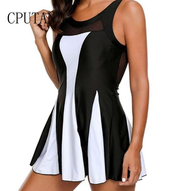 2019 New Women Black One Piece Swimdress Tummy Control Swimwear Slimming Skirt Swimsuit Beachwear Bathing Suit