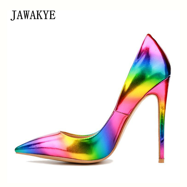 07af6d8f43f8 JAWAKYE Rainbow high heels Women pumps Pointed toe Stiletto Party shoes  ladies Gradient high heeled Shoes bright Wedding Shoes