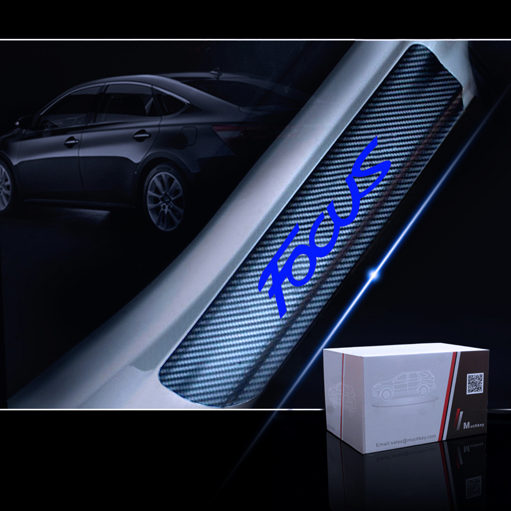 Car Styling Carbon Fiber Vinyl Sticker Car Door Sill Protector Scuff Plate Door Sill Guard For Ford FOCUS Car Accessories