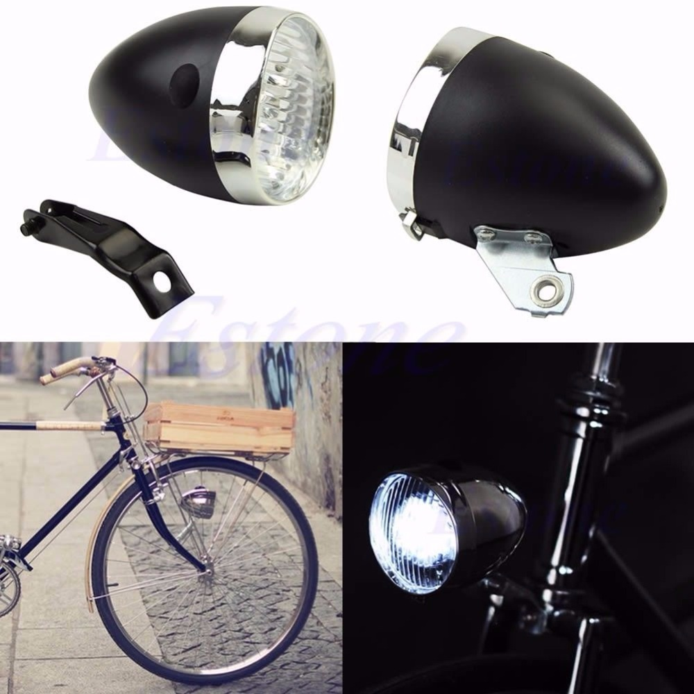 Retro 3 LED Bike Bicycle Chrome Visor Bullet Headlamp Headlight Front/Tail Light D21 цена 2017