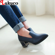 2016 Free Shipping sweet style high quality PU lady shoes PLUS USA size 13 14 14.5 square heels pointed toe slip-on lady pumps