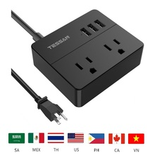 TESSAN 2 AC Outlet Travel Mini Power Strip with 3 USB Ports Charging Station Extension Cord Socket USA Plug for US Power Socket