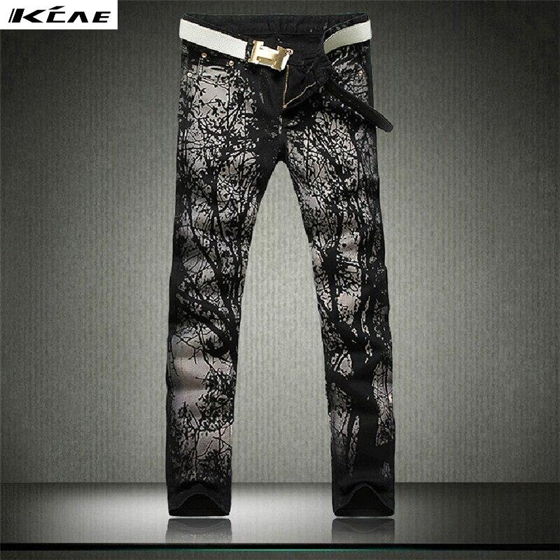 Men's fashion Blue and black print jeans Male casual slim fit denim pants Long trousers Free shipping шлифмашина эксцентриковая makita bo5040