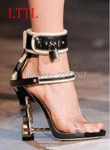 LTTL Women Summer Crystal Sandals Clear Transparent Shoes Strange Heel Ankle Wrap Lock Shoes Stud Women Wedding shoes