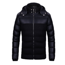 Men's Winter Jacket Mens Thicken Patchwork Outerwear Coats Male Hooded Parkas Warm Windproof Cotton Padded PU Brand Clothing