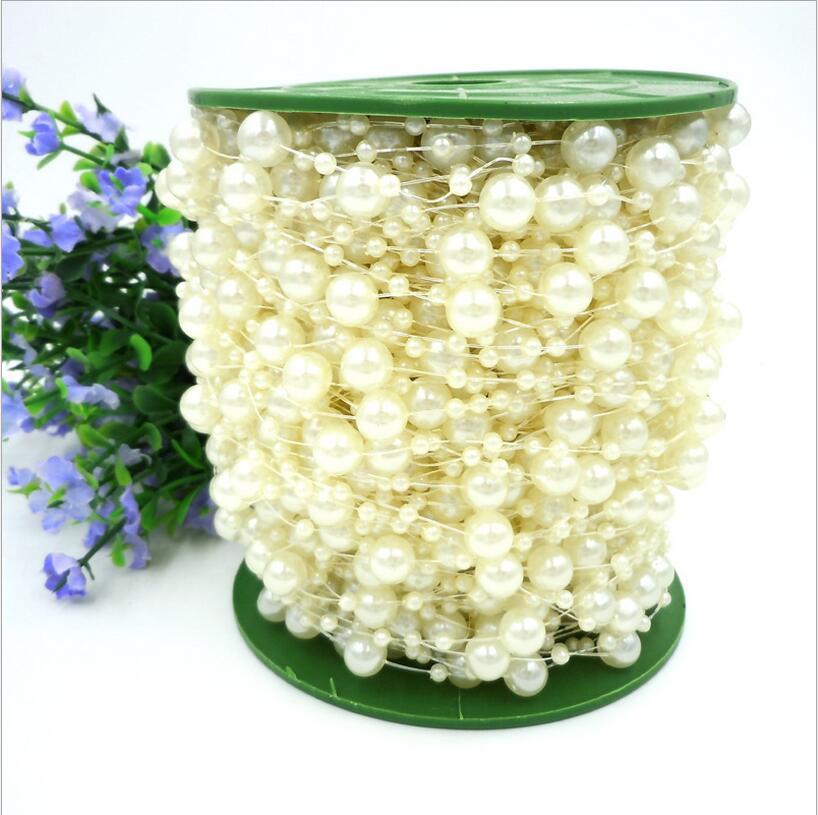 White Pearl Beads Strand Garland Acrylic Wedding Pearl: 5Meters/bag Red/White Fishing Line Artificial Pearls Beads