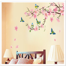 Romantic Peach Blossom and Swallow PVC Removable Room Decal Art DIY Wall Sticker Home Decor hot sell popular stickers
