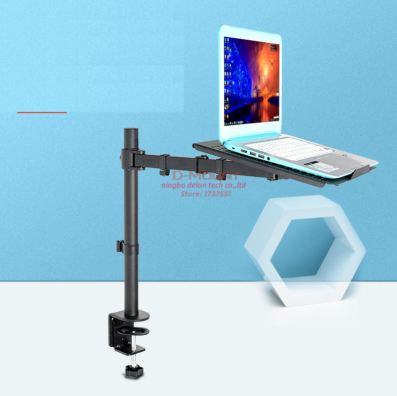 """11/"""" 15.6/"""" Laptop Stand Mount Swing Dual LCD arm Desk Mount fit 10/""""-27/"""" Monitor"""