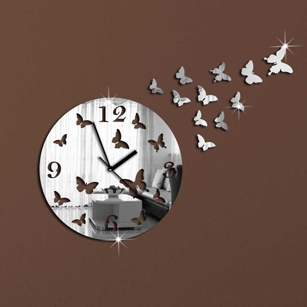 11 Butterflies Sculpture Art Mordern Luxury  DIY Removable 3D Crystal Mirror Wall Clock Wall Sticker Living Room Bedroom Decor