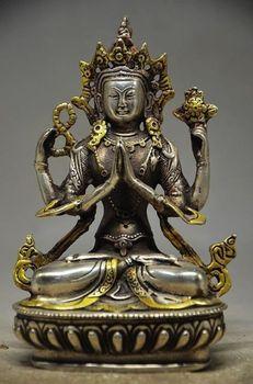"Exquisite Old Tibet Tibetan Gilt silver copper Arm Tara Buddha Statue 5.6"""