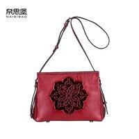 2018 New Leather Messenger Bag Personalized shoulder bag Vintage woven embossed leather casual handbag