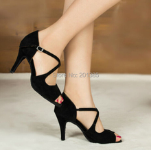 Free Shipping Wholesale Women Black Suede LATIN Dance Shoes Ballroom Dance Shoes Salsa Dance Shoes Tango Dance Shoes