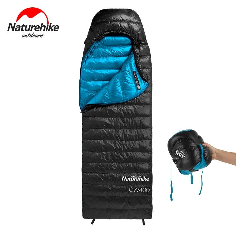 naturehike cw400 inverno quente sacos de dormir tipo envelope ganso branco para baixo saco de dormir