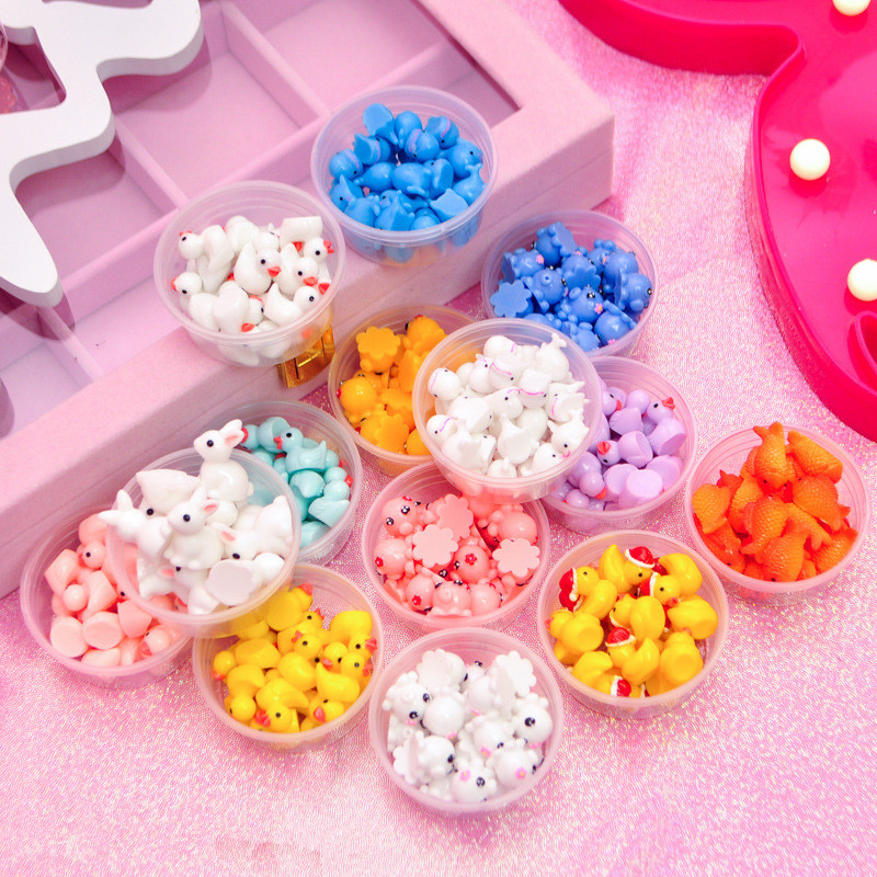 5/10pcs/box  DIY Crafts Slime Charms Toy Resin Duck Supplies Addtion Filler For Fluffy Cloud Clear Slime