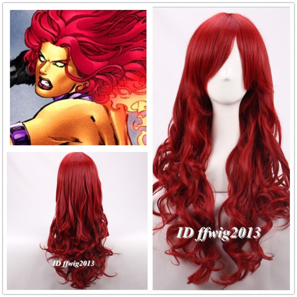 Free Shipping Teen Titans Starfire Long Wavy Curly Fluffy -4647