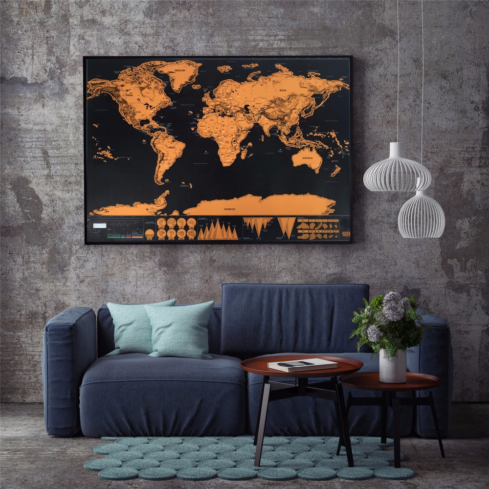 KEDODE Luxury Erase Black World Map DIY Personalized Travel Scratch Map Mundi Map Home Decor Wall Sticker For Kids Unique Gift