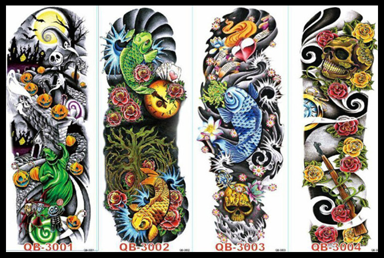 48 X 15cm Cool Men And Women Temporary Full Arm Tattoo 56