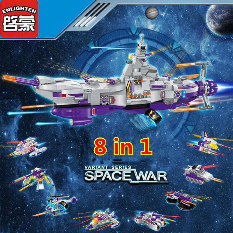 Enlighten 683Pcs 8 in 1 Space War Warship Tank Military Building Blocks Sets Assembly Baby Toys Educational Toys for Children
