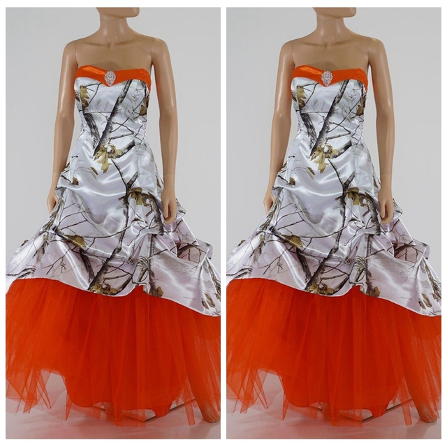 New Orange Skirt White Camo Wedding Dresses Lace Up Back Camouflage Bridal Gowns Custom Made Plus