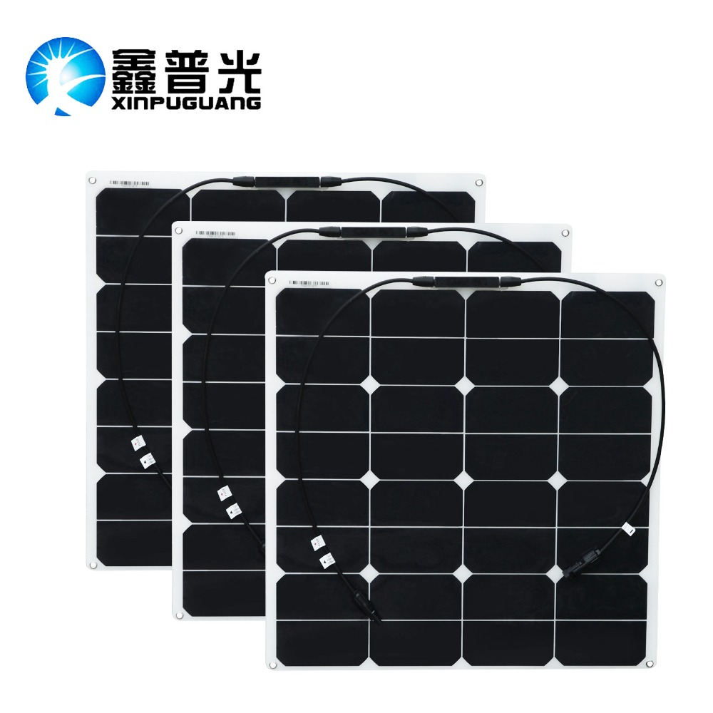 XPG 3PCS 50W semi-flexible solar panels light solar modules 150W solar Panel Power Battery Charge 18V for RV Boat Roof Camping