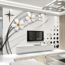 Modern Fashion Mural Wallpaper 3D Stereo Black And White Ceramic Flower Photo Wall Painting Living Room TV Sofa Backdrop Wall 3D(China)
