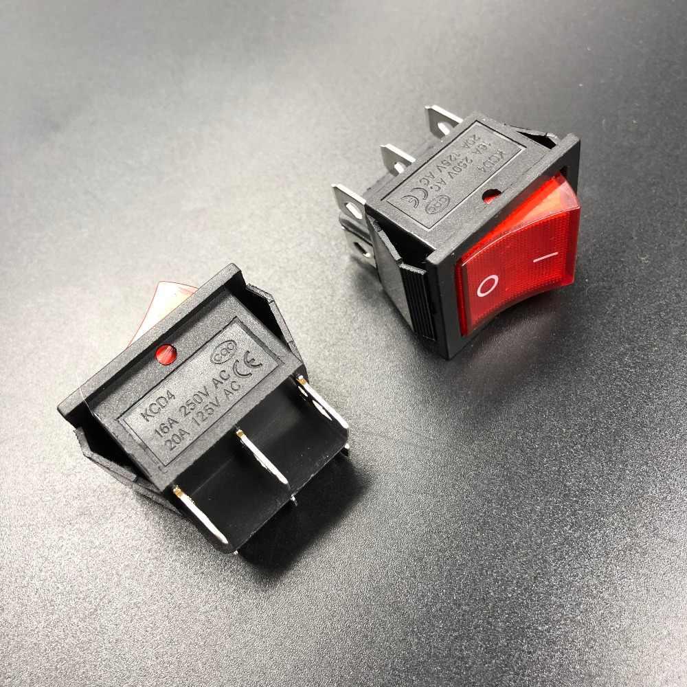 3 sztuk/partia KCD4 16A/250Vac z czerwonym/zielone światło 4 sposoby czarny przełącznik kołyskowy on/off z 4 stóp lub 4 szpilki