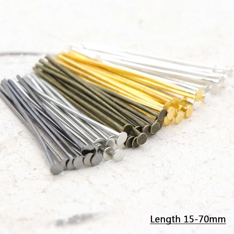 100pcs 20 30 35 40 45 50 60 65 70 mm Metal Heads Eye flat Head Pin For Jewelry Making Findings Accessories Wholesale Supplies