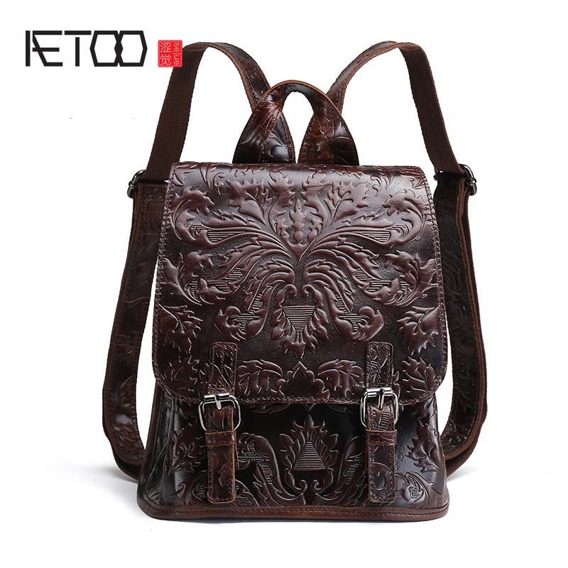 AETOO New European and American oil wax leather simple shoulder bag women travel backpack leather embossed retro shoulder bag-in Backpacks from Luggage & Bags    1