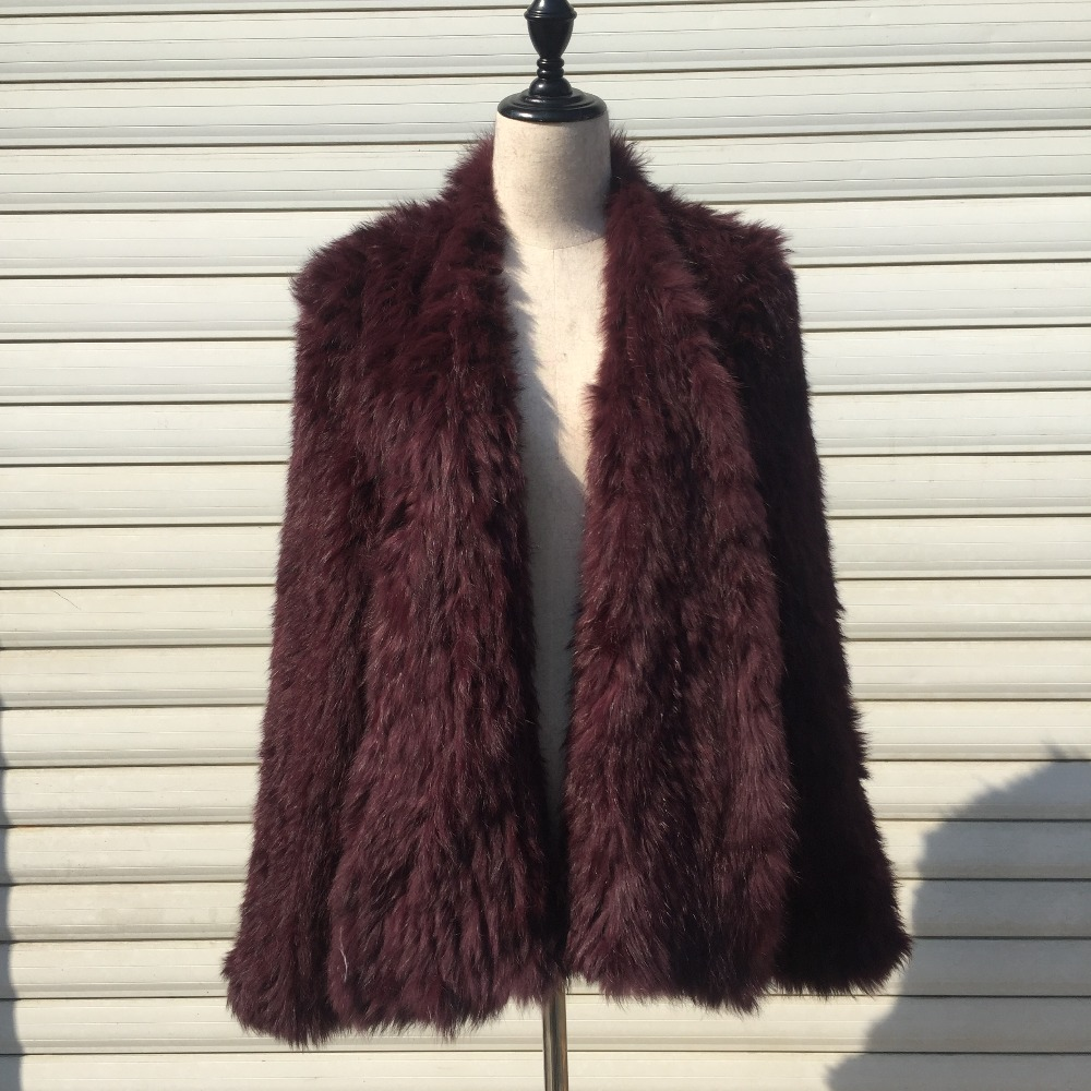 JF0013 Wholesale and retail Top Quality Real Rabbit Fur Hand Knitted women winter fur coats