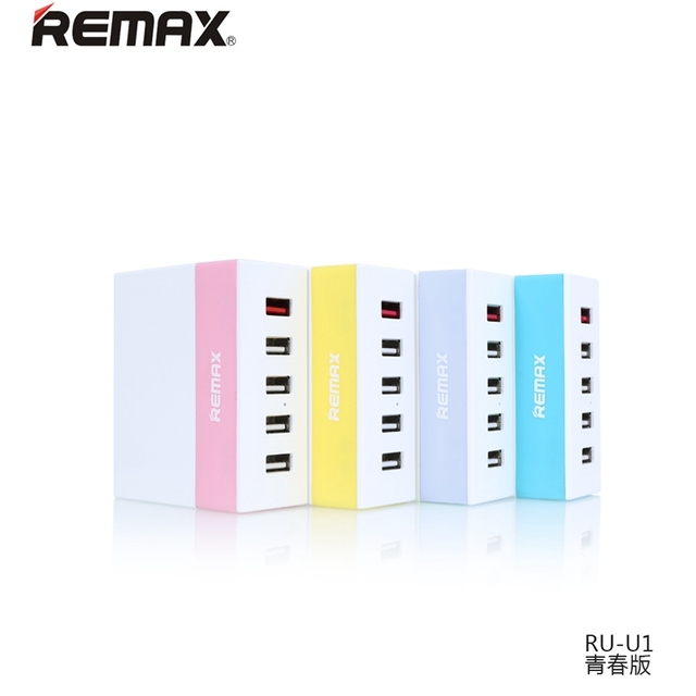 Newest Remax Brand Ming Series RU-U1 Portable USB Charger Fast Charging Youth Version 5 USB Ports EU Standard Optional