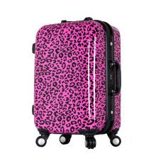 Women Print Leopard Travel Suitcase Aluminum Frame Trolley Luggage Bag ABS+PC Universal Wheels Luggage 20″ 24″ Rolling Luggage