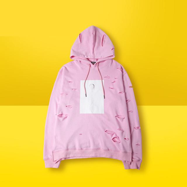 2016 Primavera High Street tops qualidade 85% algodão de manga longa homens hoodies homem moletom kpop Unisex streetwear Desfiado Buraco ROSA