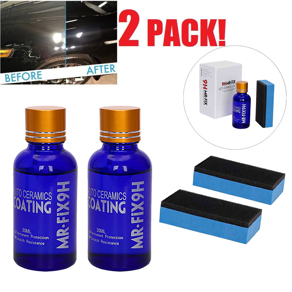 New 2PCS Car Oxidation Liquid Ceramic Coat Super Hydrophobic Glass Coating Set Polysiloxane And Nano Materials Care 9H