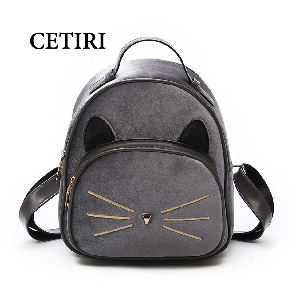 CETIRI Small Velvet Backpack Women bag Female Backpacks For Teenage Girls School Bags Ladies Small Vintage Cat Backpacks Travel aequeen womens backpacks nylon backpack shoulder bags fashion ladies small ruck school for girls travelling shopping bag