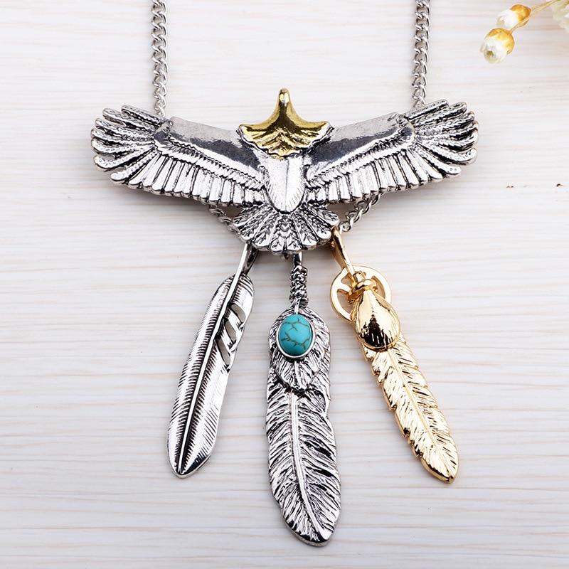 Goro s Top Quality Retro Fashion Personality Titanium Steel Eagle Feather Pendant Men Pendant Necklace Jewelry